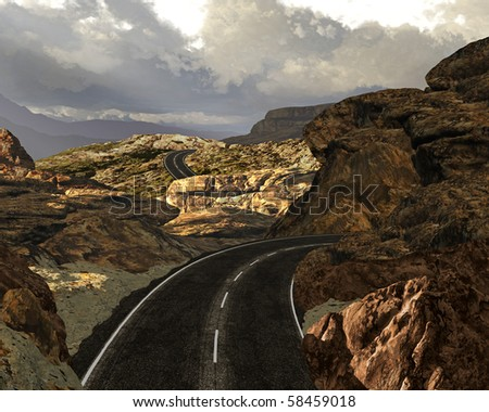 A highway scene in a rocky area in the Canyonlands of Utah. - stock photo