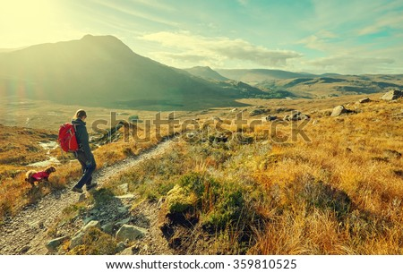 A hiker and their dog exploring the Scottish Countryside. This image has added grain and styling. - stock photo