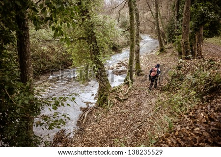 a hiker walking on the side of a small river in a forest - stock photo