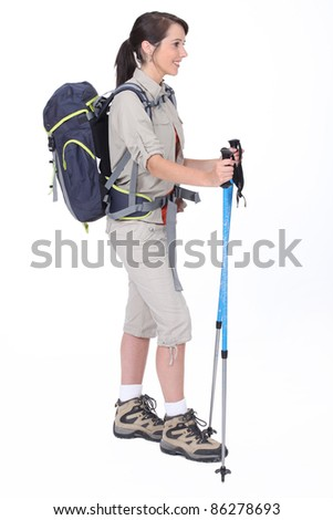 A hiker with her gear - stock photo