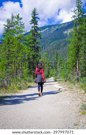 a hiking trail in the Yo-ho National Park, at the canadian Rockies Mountain - stock photo