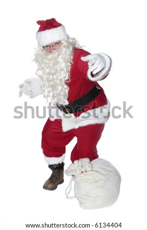 A hip-hop Santa Clause isolated on a white background