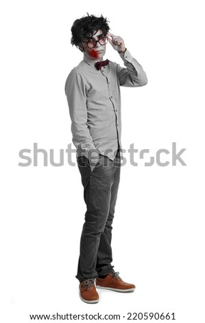 a hipster zombie wearing a bow tie and glasses - stock photo