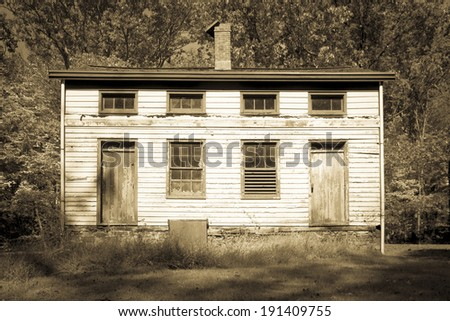 A historic house in New Jersey's Deserted Village of Feltville. - stock photo