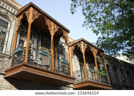 A historical house at Old City (Iceri Seher) in Baku, Azerbaijan in a Summer day. - stock photo