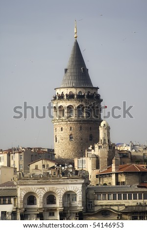 A historical place in Istanbul Turkey made by Genoese - stock photo