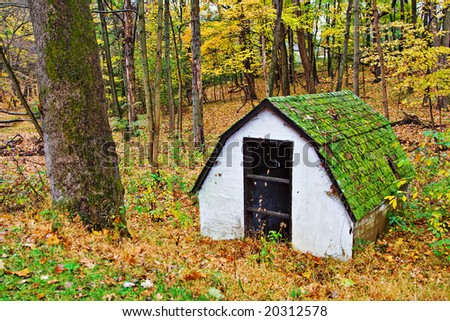 A historical  spring house in autumn - Trenton, New Jersey - stock photo