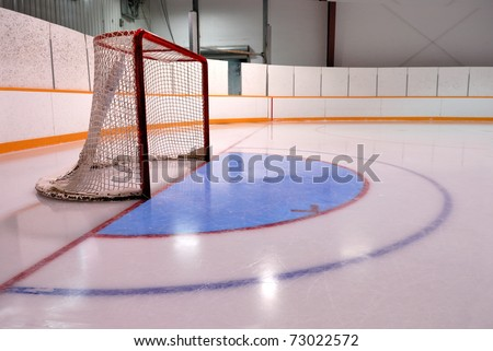 A Hockey or Ringette Net and crease in the Rink - stock photo