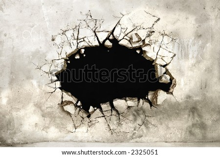 A Hole in a mortar wall perfect for pasting anything - stock photo