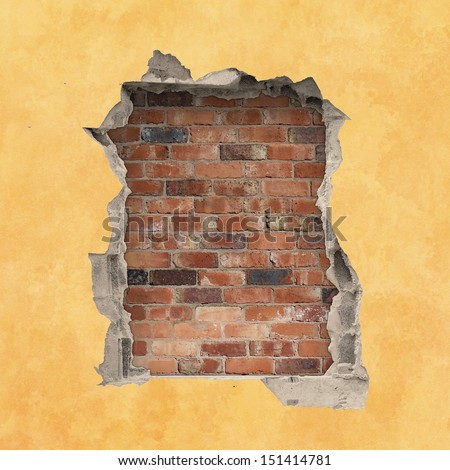 A Hole in a Wall with Red Brick Background - stock photo