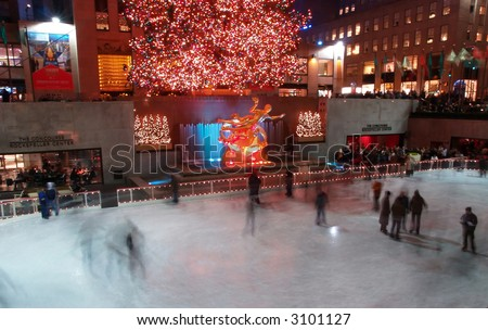 A holiday light display at Rockefeller Center in NYC - stock photo