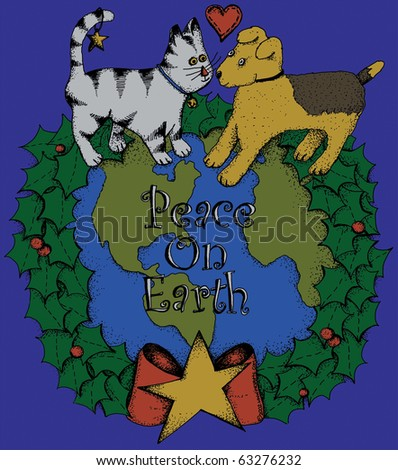 a holiday message of peace with kitten and dog - stock photo