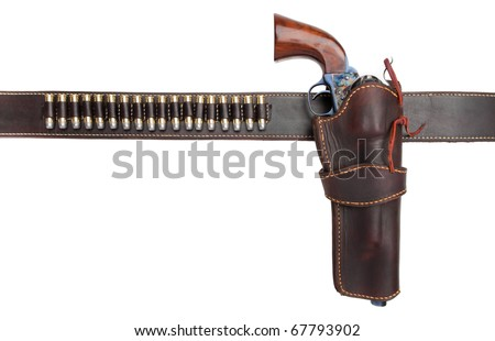A holster belt with a revolver and ammunition. Isolated on a pure white background. - stock photo