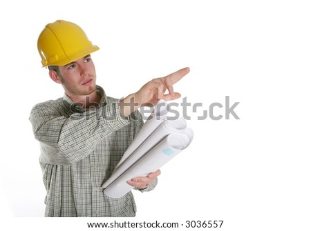 A home construction man holding blueprints and pointing - stock photo