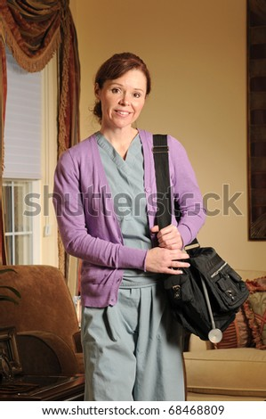 a home health nurse arriving in scrubs and bag