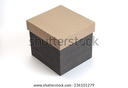 A home storage container box made with hard paper. Closed box image on white background. - stock photo