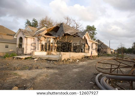 A home torn apart by the levy failure in Lakeview. - stock photo
