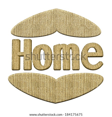 A Home word ornament with hearts design in hessian isolated on a white background - stock photo