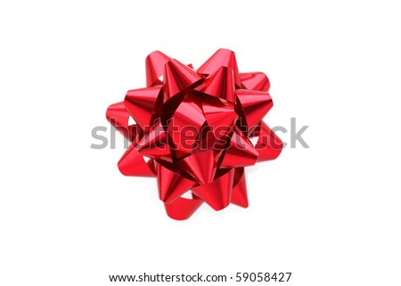 A horizontal color photo of a red gift wrap bow isolated over a white background.