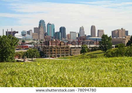A horizontal image of downtown Kansas City.  Kansas City is one of the largest cities in the Great Plains area - stock photo