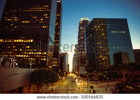 A horizontal shot of the Financial District in Los Angeles in a dusk setting. - stock photo
