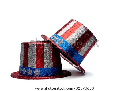 A horizontal view of a pair of sparkling 4th of July celebration hats - stock photo