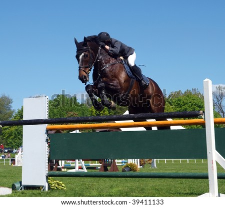 A horse and rider over a jump - stock photo
