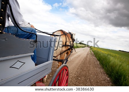 A horse pulling a cart across a beautiful Saskatchewan landscape - stock photo