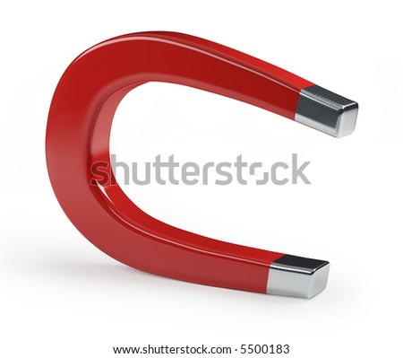A horseshoe magnet over a white background