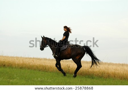A horsewoman gallops on a horse.