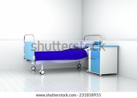 a hospital bed in a room - stock photo