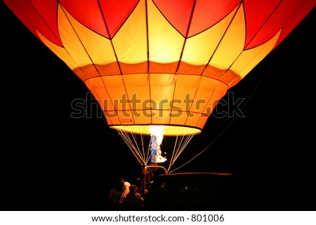 A hot air balloon up-close. Reno International Hot Air Balloon Festival, 2005. Taken at 4:30 a.m., prior to Dawn Patrol takeoff.