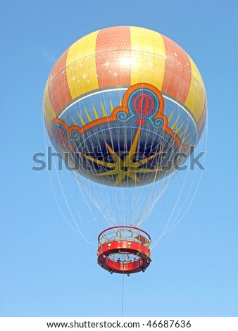 A Hot Air Balloon up in the sky - stock photo