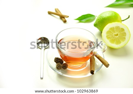 a hot cup of tea - stock photo