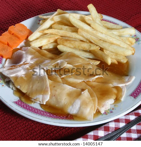 A hot turkey sandwich with gravy on a plate. - stock photo