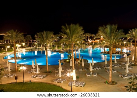A hotel pool view - stock photo