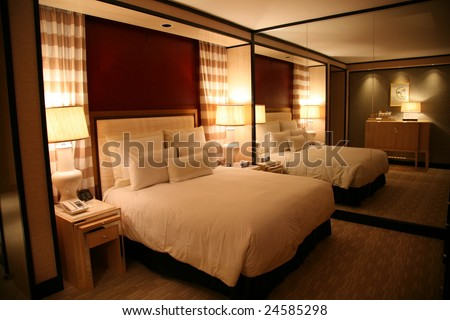 A hotel room at The Encore Casino and Resort in Las Vegas, Nevada. - stock photo