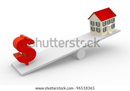 A house and dollar sign in the balance. 3d render - stock photo