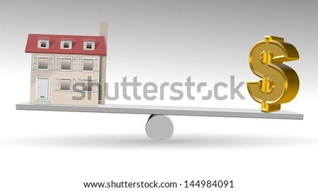 A house and golden dollar symbol on a see saw / Property value - stock photo