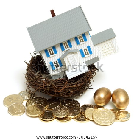 A house in a nest with golden eggs and coins for many conceptual ideas.