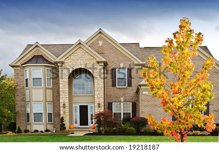 A house in a suburban neighborhood of Cleveland, Ohio. - stock photo