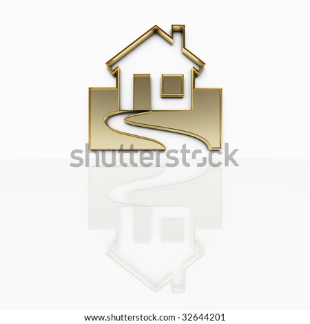 a house in gold - stock photo