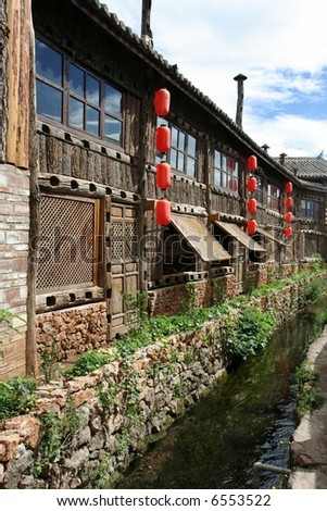 A house in Lijang, a Nazi city in Yunnan province, China - stock photo