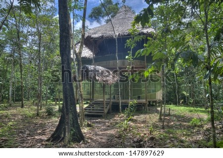 A house in the rainforest, in Iquitos, Peru. - stock photo