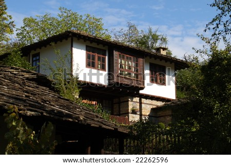 A house in the 600 years old village of Bozhentsi, proclaimed an architectural and historic reserve in 1964, Bulgaria - stock photo