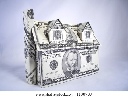 A house made of money,dollars - stock photo