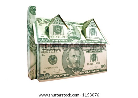 A house of fifty dollar bills isolated against white with clipping path - stock photo