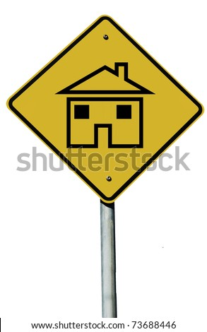 A House sign isolated on a plain white background. - stock photo