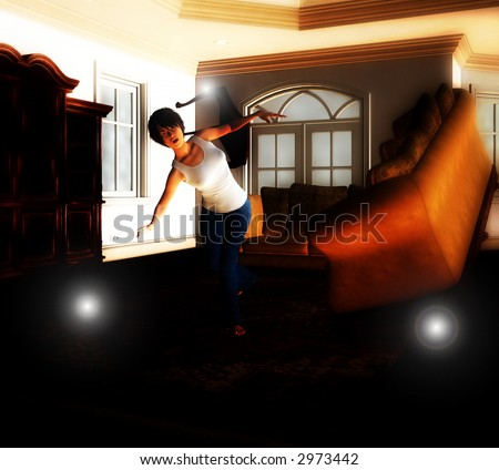 A house that is being haunted by a poltergeist. - stock photo