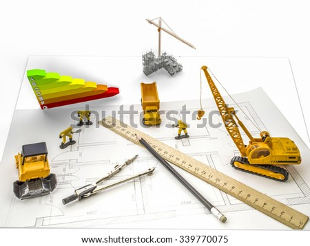 A house under construction, construction machinery, scale energy efficiency and builders in the drawing of the apartment. Construction concept - stock photo